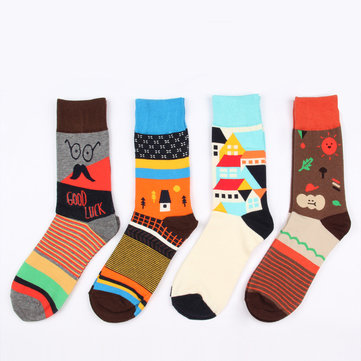 Colorful Cotton Tube Socks For Men Women, Black/red/green black/red/blue black/green/red black/white black/orange