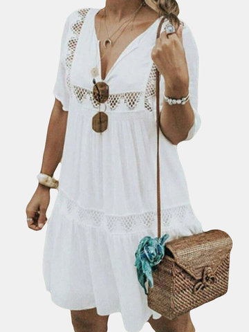 Bohemian Hollow Out V-neck Dress