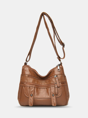 Vintage Multi-pocket Soft Crossbody Bag