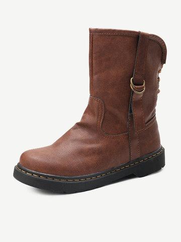 Retro Strappy Flat Short Boots