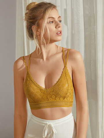 Floral Lace Wireless Spaghetti Straps Bra