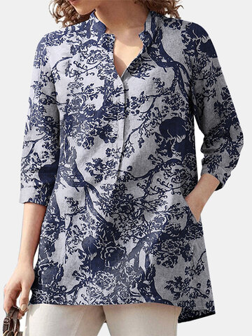 Casual Floral Pattern Pocket Blouse