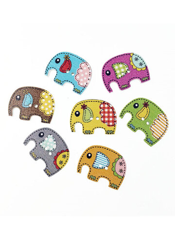 50 Pcs 25x19mm Cute Wood Elephant Sewing Buttons