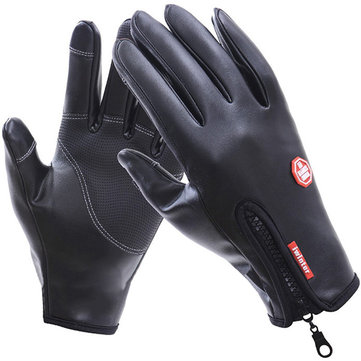 Mens Outdoor Full Finger Warm Leather Windproof Waterproof Touch Screen Bicycle Gloves