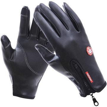 Gants de vélo à écran tactile imperméables en plein air en cuir chaud à l'épreuve du vent pour hommes