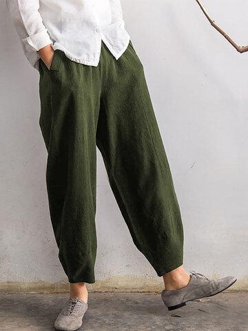 Pantaloni Puri con Elastico in Vita con Tasche