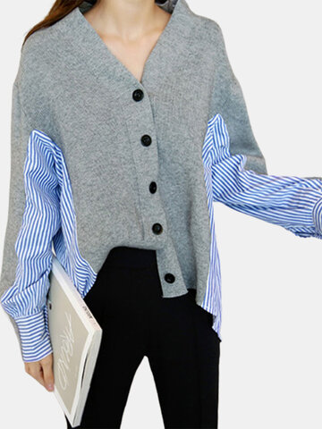 Striped Patchwork Loose Knitted Cardigan