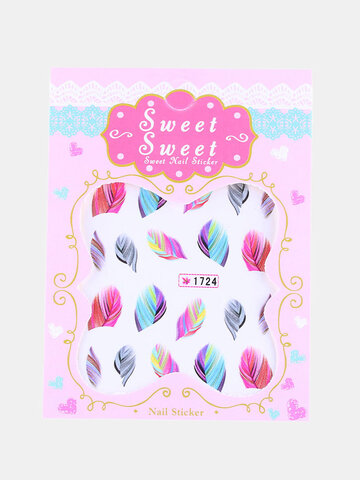 1 Sheet Rainbow Colorful Feather Nail Art Sticker