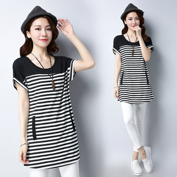 New T-shirt Female Large Size Stripes In The Long Section Short-sleeved Loose Women's Shirt Shirt Shirt