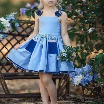 Girls Sling Lace Pleated Princess Tutu Dress For 1-7Y