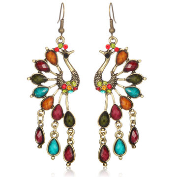 Ethnic Peacock Crystal Tassel Earrings