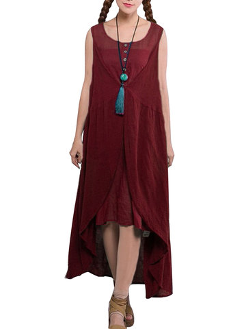 Mori Girl Style Pure Color Sleeveless Fake Two-piece Maxi Dress For Women