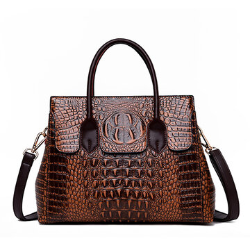 Women Retro Crocodile Pattern Handbag Crossbody Bag