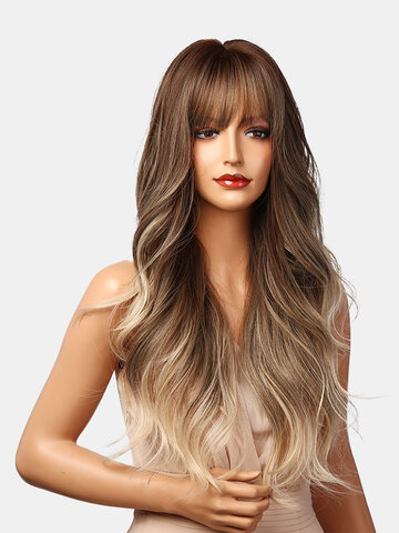 Gradient Long Wavy Curly Synthetic Wigs