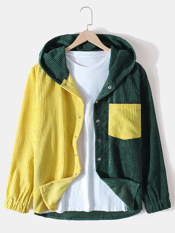 Patchwork Corduroy Hooded Jackets