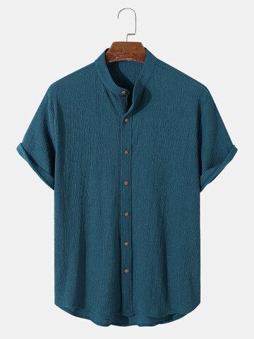 Texture Stand Collar Basics Shirts