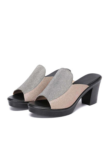 Casual Chunky Heels Slippers