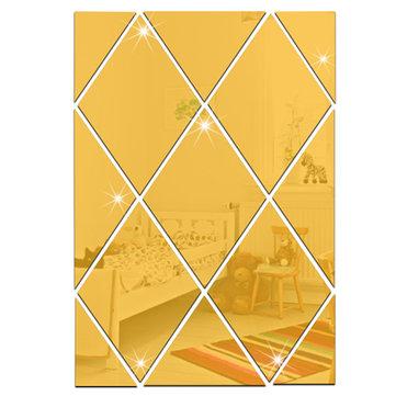 3D Rhombus Mirror Wall Sticker Waterproof