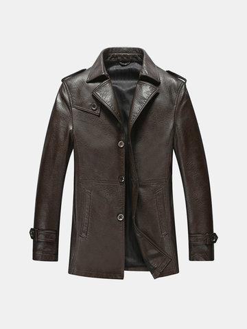 Mid Long Epaulets Leather Jacket