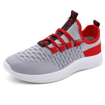 Men Knitted Fabric Breathable Running Shoes