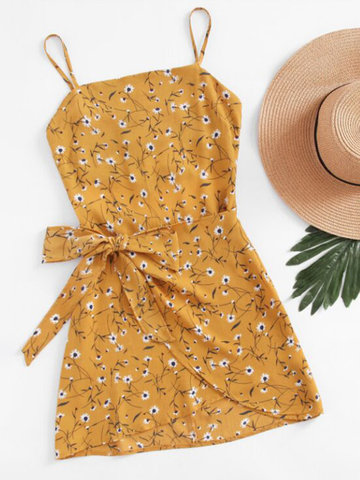 Floral Printed Back Hollow Mini Dresses