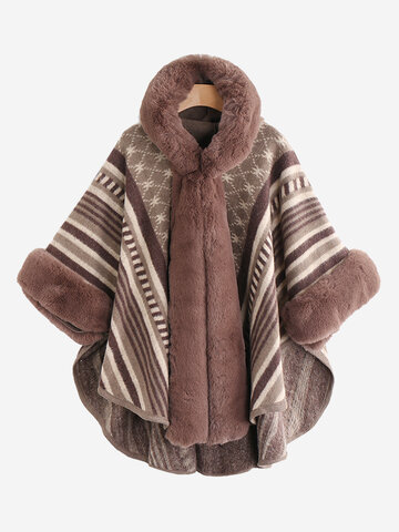 Faux Fur Poncho Coat