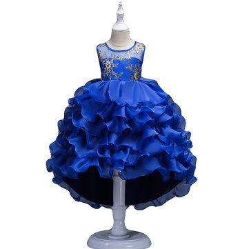 Pieghettato Flower Girls Princess Dress 3Y-15Y
