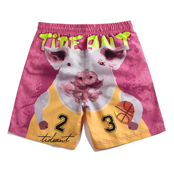 Couples Funny Pig Pink Beach Board Shorts