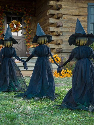 1 PC Halloween Luminous Light Three Hand-in-hand Witches Wizard Ghost Witch Jar Festival Atmosphere Props Garden Ornaments