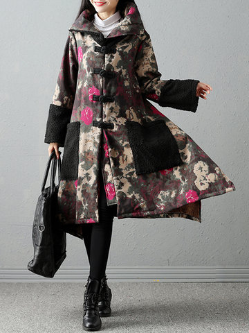 Folk Style Printed Women Thick Coats