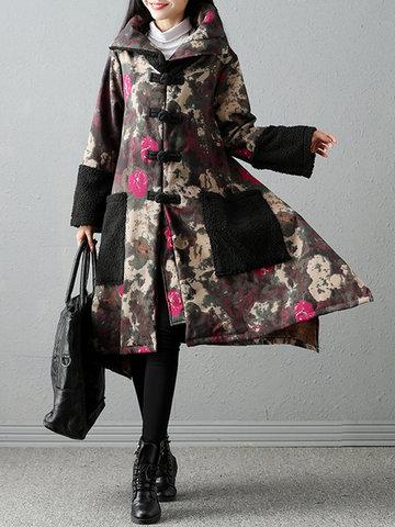 Folk Style Printed Women abrigos gruesos