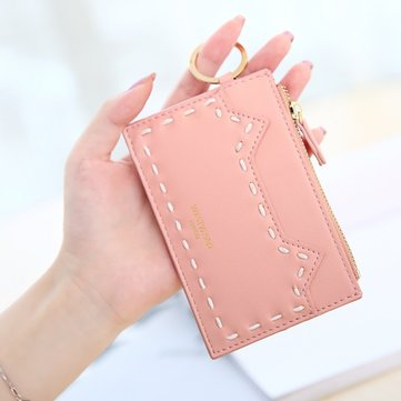 Women Cute Cat Thread Thin Mini Short Wallet Coin Purse