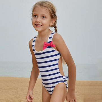 Striped Bow-Knot Swimwear For 2-15Y