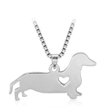 Damen Halskette aus Silber mit süßem Hund Herz