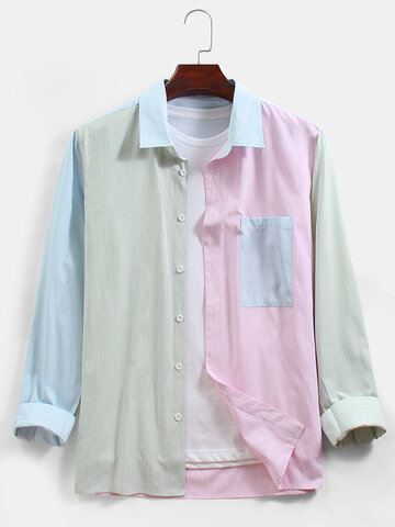 Cotton Macaron Striped Shirts