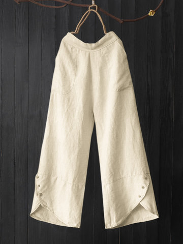 Asymmetrical Button Pants