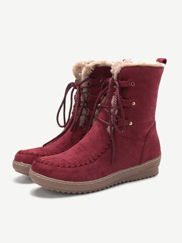 Women Winter Suede Plush Lined Stitching Side Zipper Lace Up Flat Short Boots