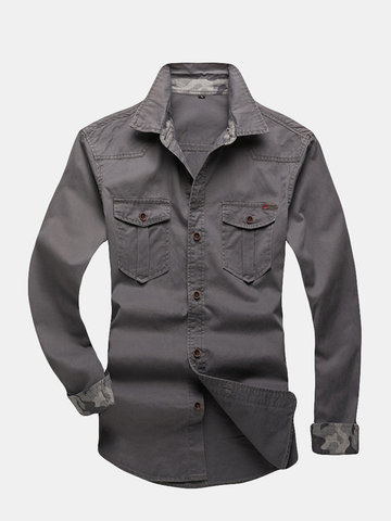 Men's casual long Sleeve Shirt, Army green