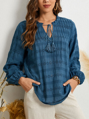 Floral Embroidery Knotted Blouse