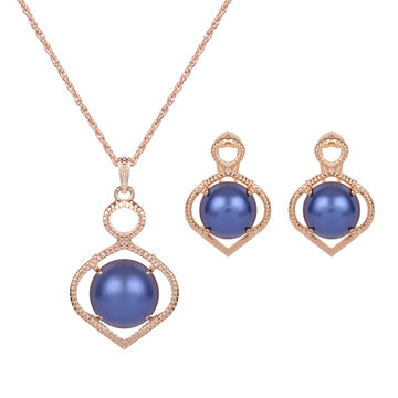 Luxury Jewelry Set Gold Plated Pearl Earrings Necklace Set