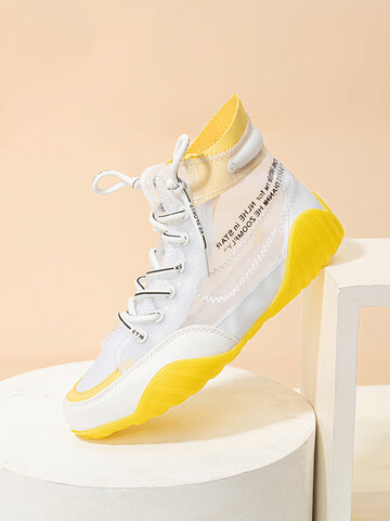 Breathable Mesh Fabric Soft High-tops Sneakers