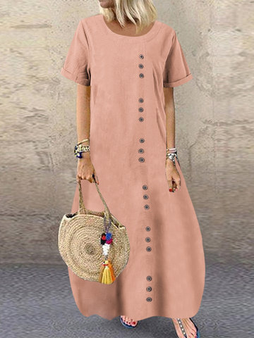 Summer Button Loose Dress