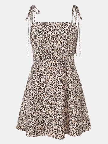 Leopard Print Straps Dress