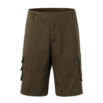 Mens Plus Size Cotton Solid Color Big Pockets Knee Length Cargo Shorts Casual Beach Shorts, Black khaki army green army yellow coffee