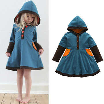Casual Hooded Girls Cotton Dress For 2Y-9Y