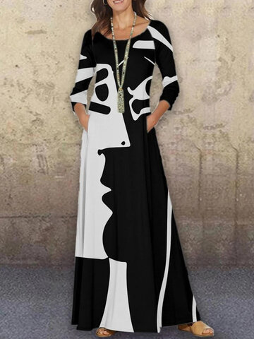 Figure Print O-neck Abstract Maxi Dress