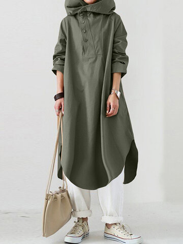 Asymmetrical Vintage Hooded Dress