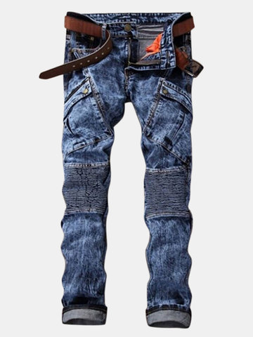 Biker Patchwork Big Pockets Fold Jeans
