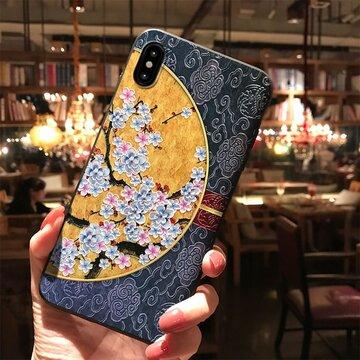 Telefone amarelo e azul do relevo TPU do iPhone da ameixa Caso