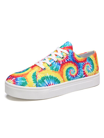 Wide Fit Tie Dye Casual Skate Shoes